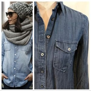 Ann Taylor Denim Button-Down